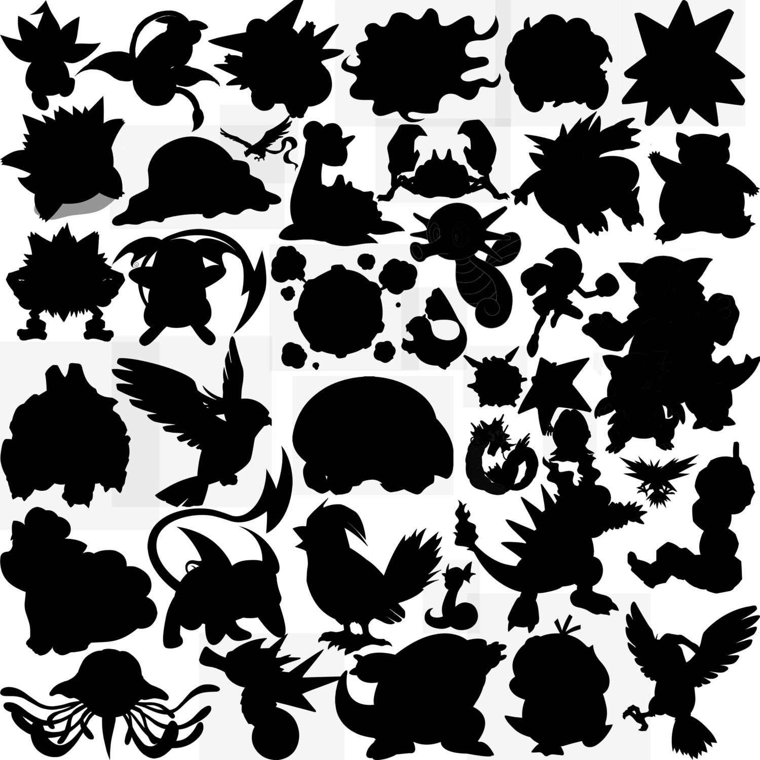 Pokemon clipart silhouette. First generation this