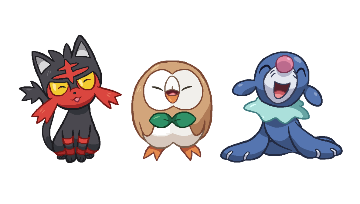 Pokemon sun and moon png. Image starters by tzblacktd