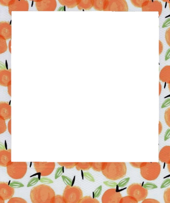 Polaroid png frame. Aesthetic peach orange photoframe