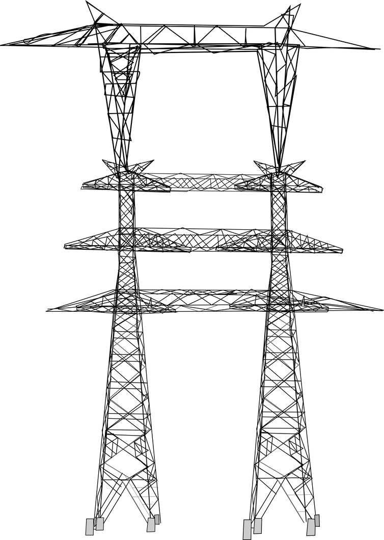 Pole vector electric tower. V high votlage kv