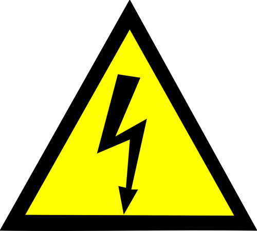 Pole vector high tension. Voltage danger electric sign
