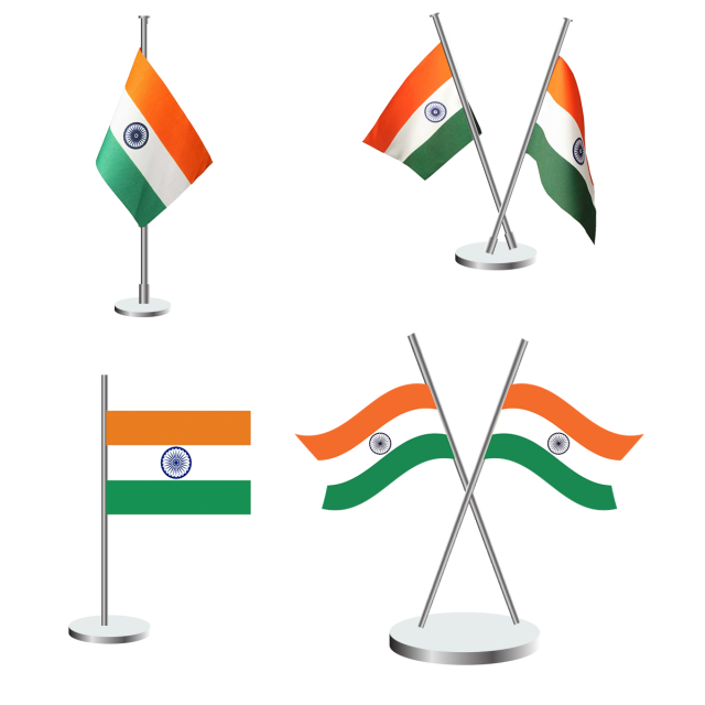 Indian flag icon tricolor. Pole vector simple design image download