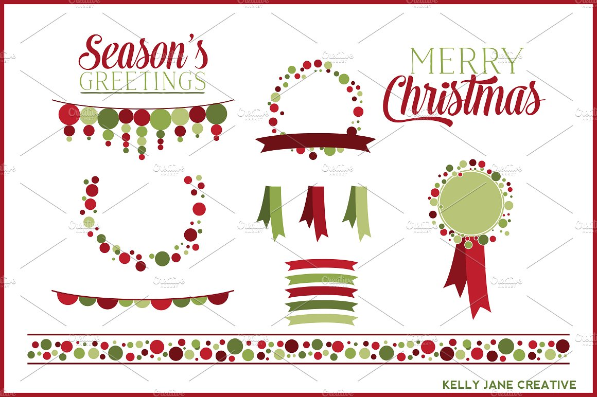 Succulent clipart christmas. Polka dot vector illustrations