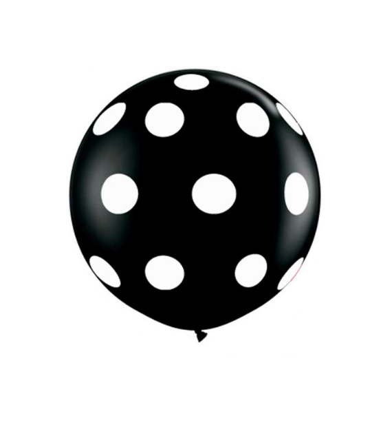 Polka dot balloon png. Black and white in