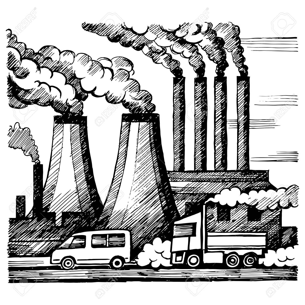 Air ohidul me factory. Pollution clipart drawing graphic stock