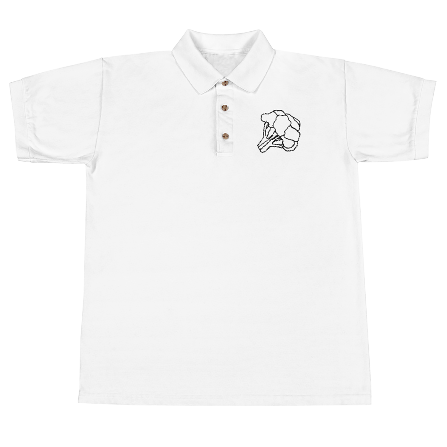 Polo drawing shirt line. Broccoli embroidered true vision