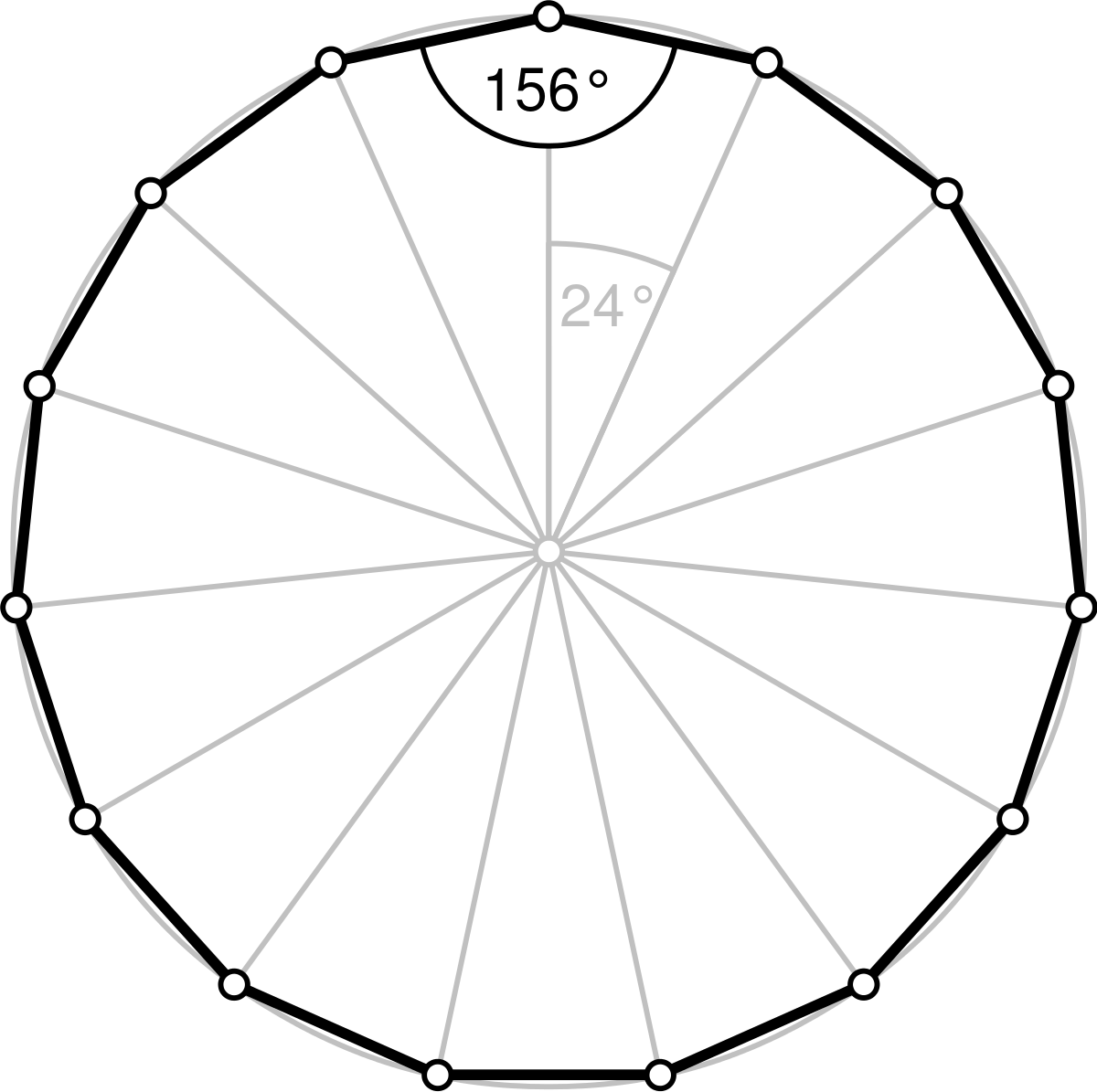 Polygon drawing. Pentadecagon wikipedia