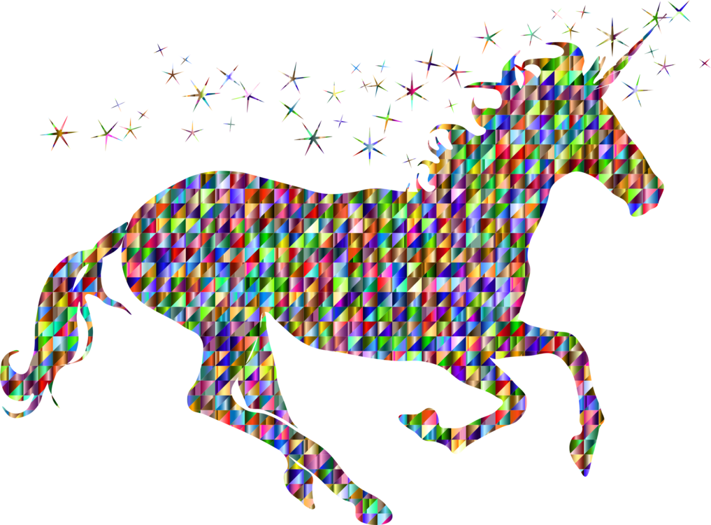 Polygons drawing horse. The black unicorn silhouette