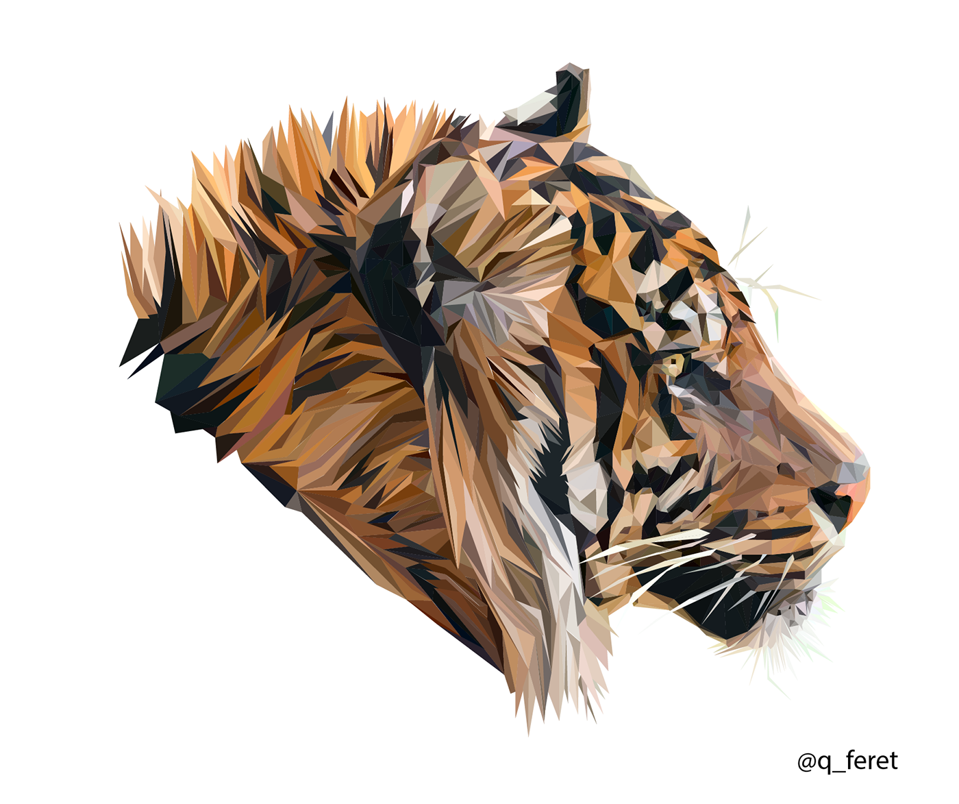 Polygons drawing tiger. Digital low poly on