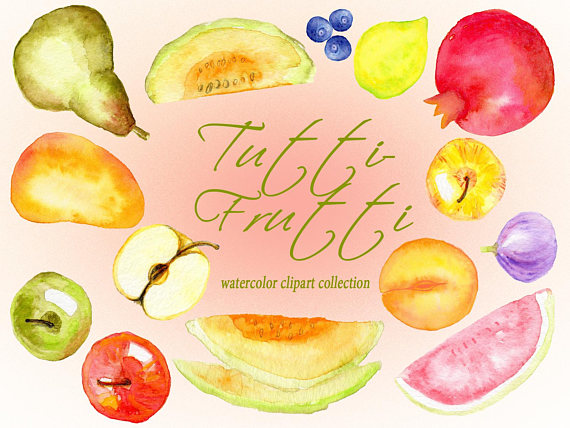 Pomegranate clipart printable. Watercolor fruit summer food