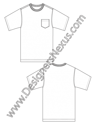 Mens fashion flat sketch. Vector tee side svg transparent library