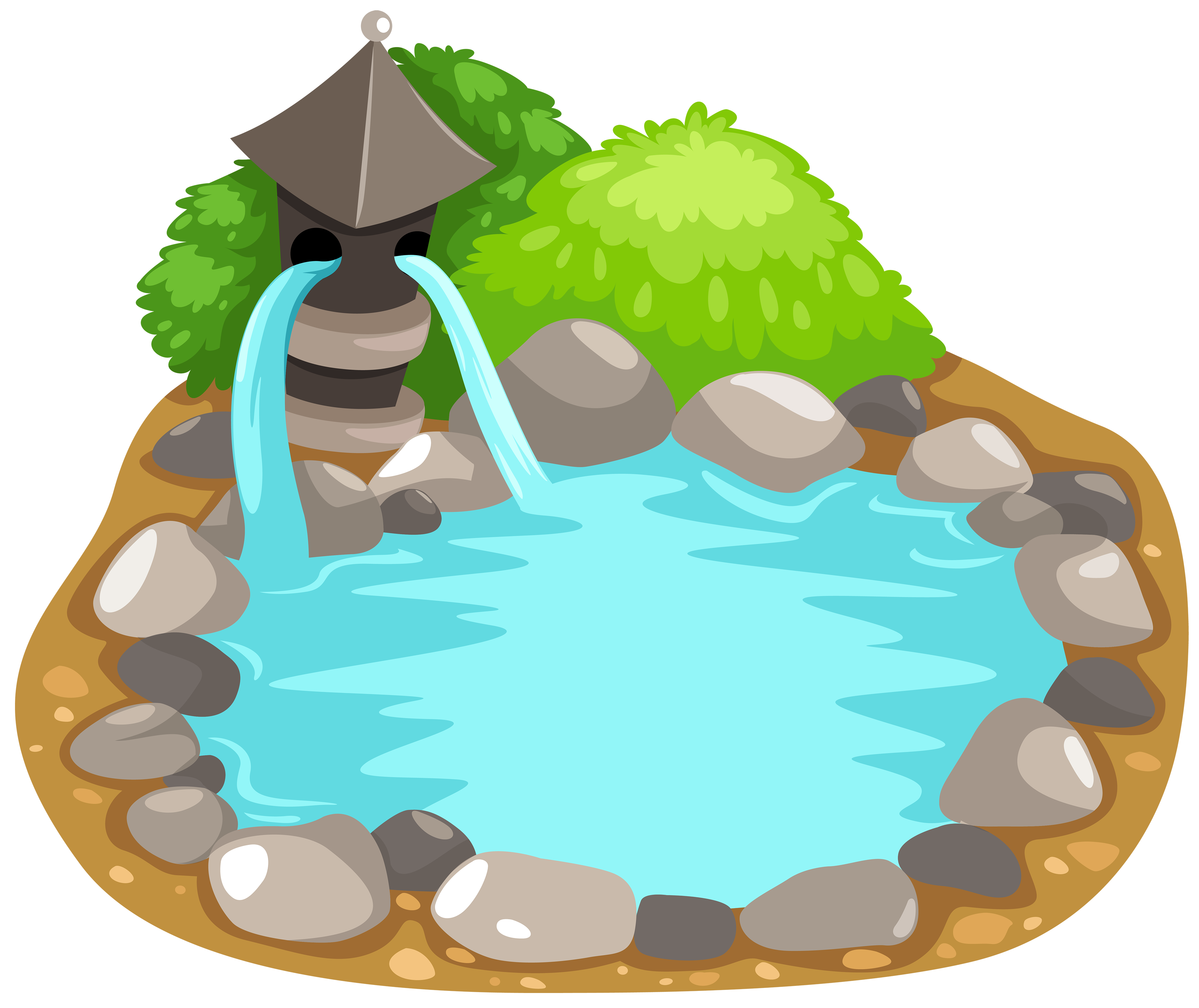 pond vector cartoon farm