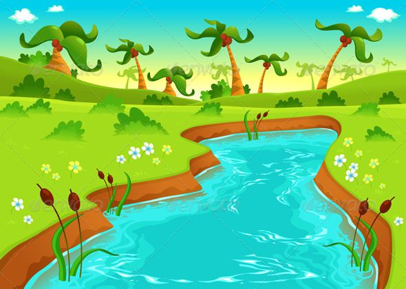 Pond clipart farm pond. Jungle with vector graphics