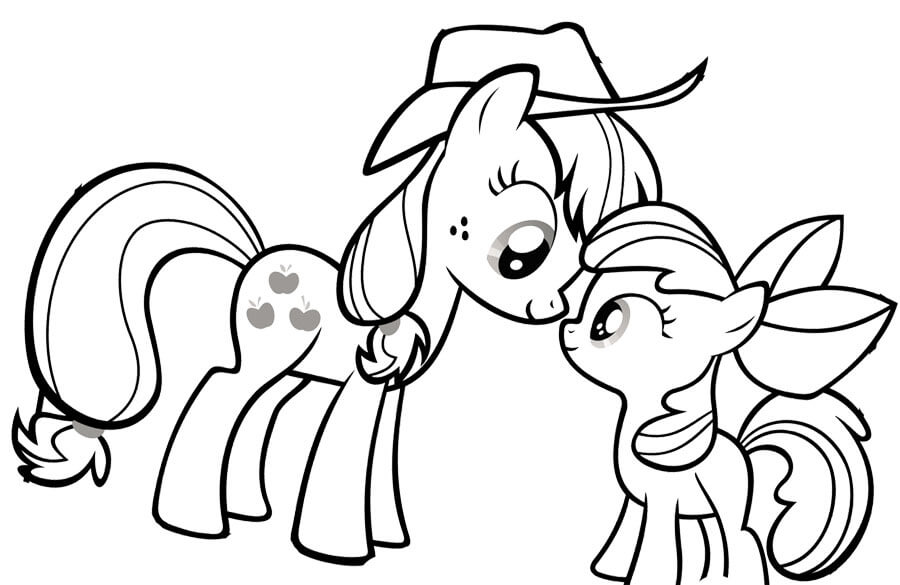 Pony clipart colouring page. My little color pages