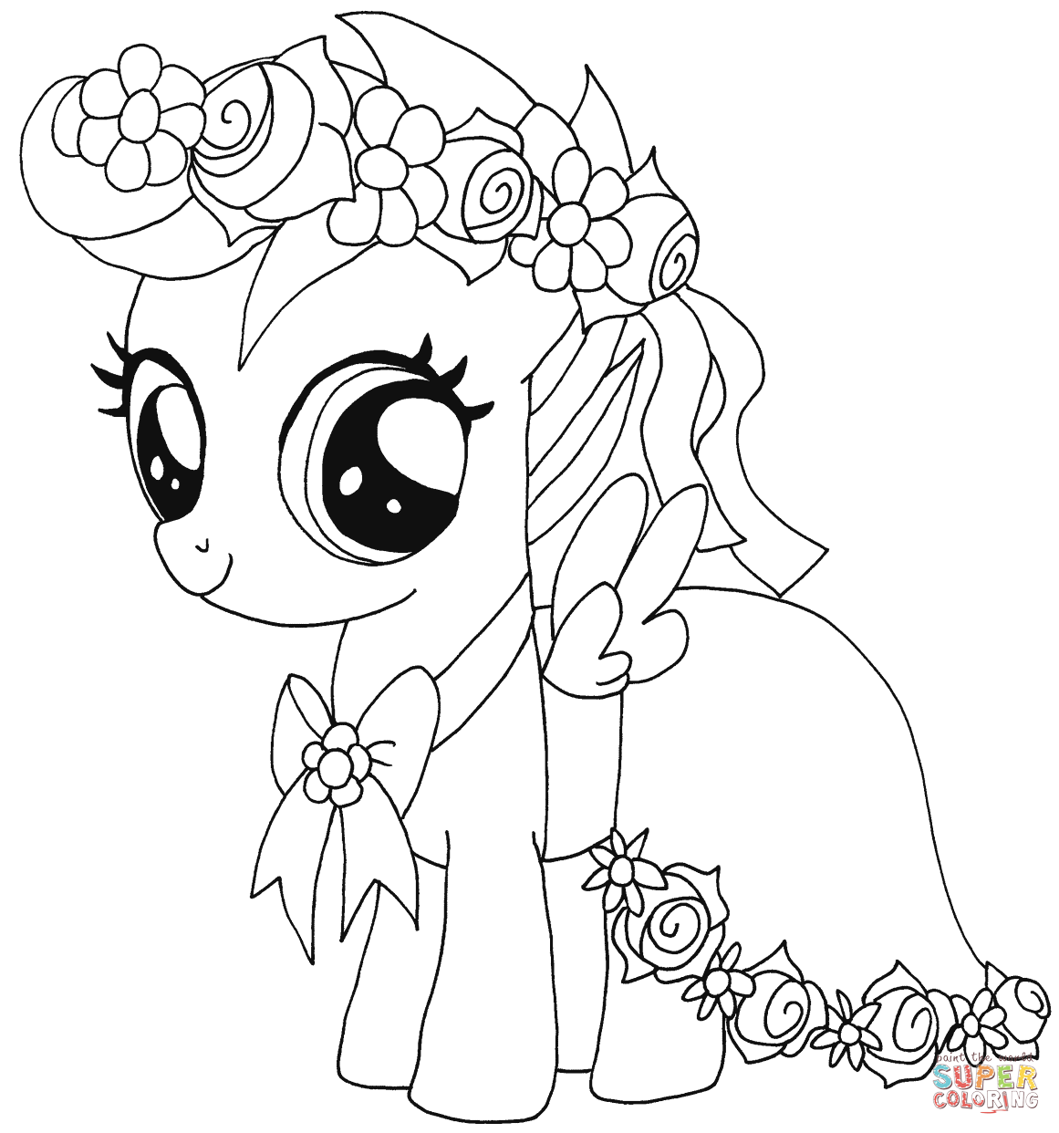 Pony clipart colouring page. My little coloring pages