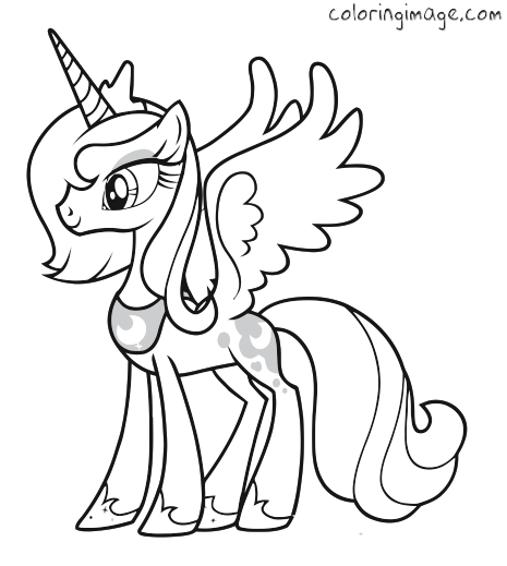 Pony clipart colouring page. My little coloring princess