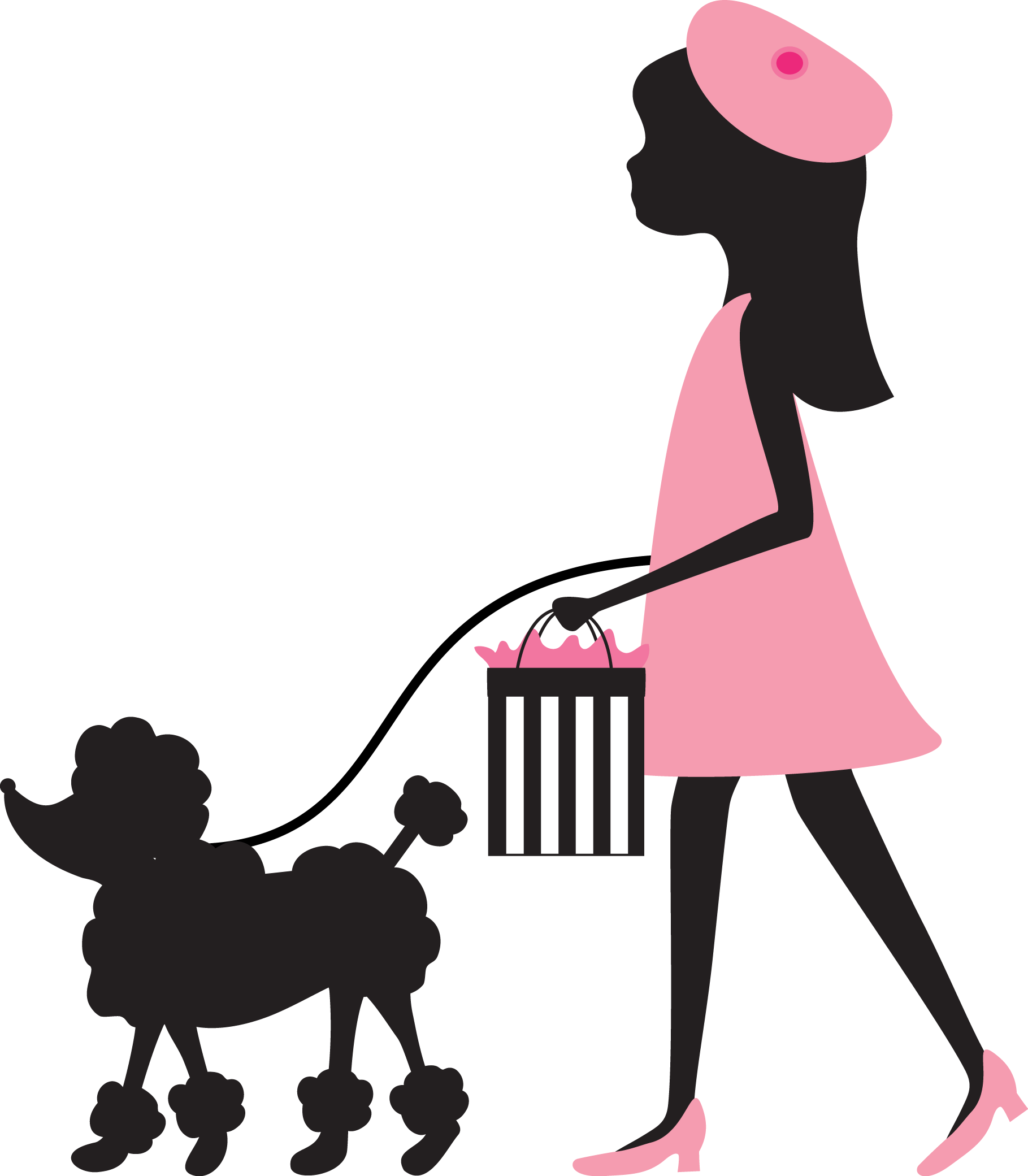 Continental clip breed. Poodle silhouette art at