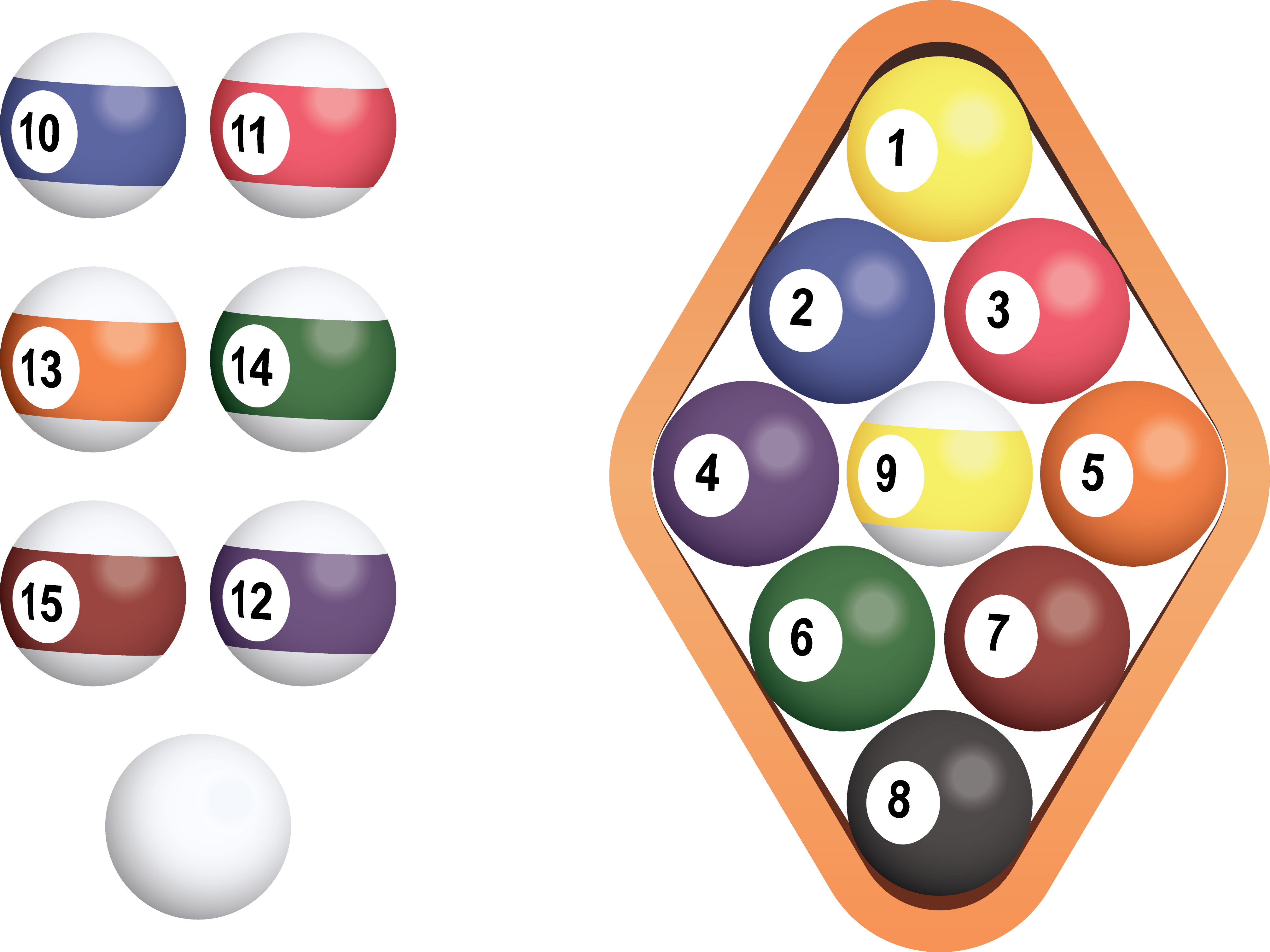 Pool 8 ball in rack png. Billiard nine snooker collection