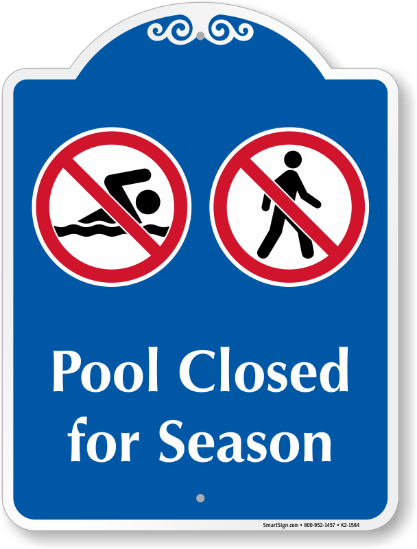 Pool clip closed. Swimming signs free shipping