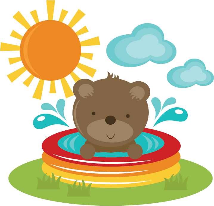 Pool clip summer. Bear in svg cut