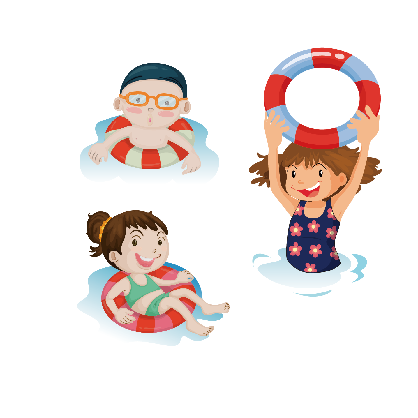 Pool clip water play. Swimming art children in