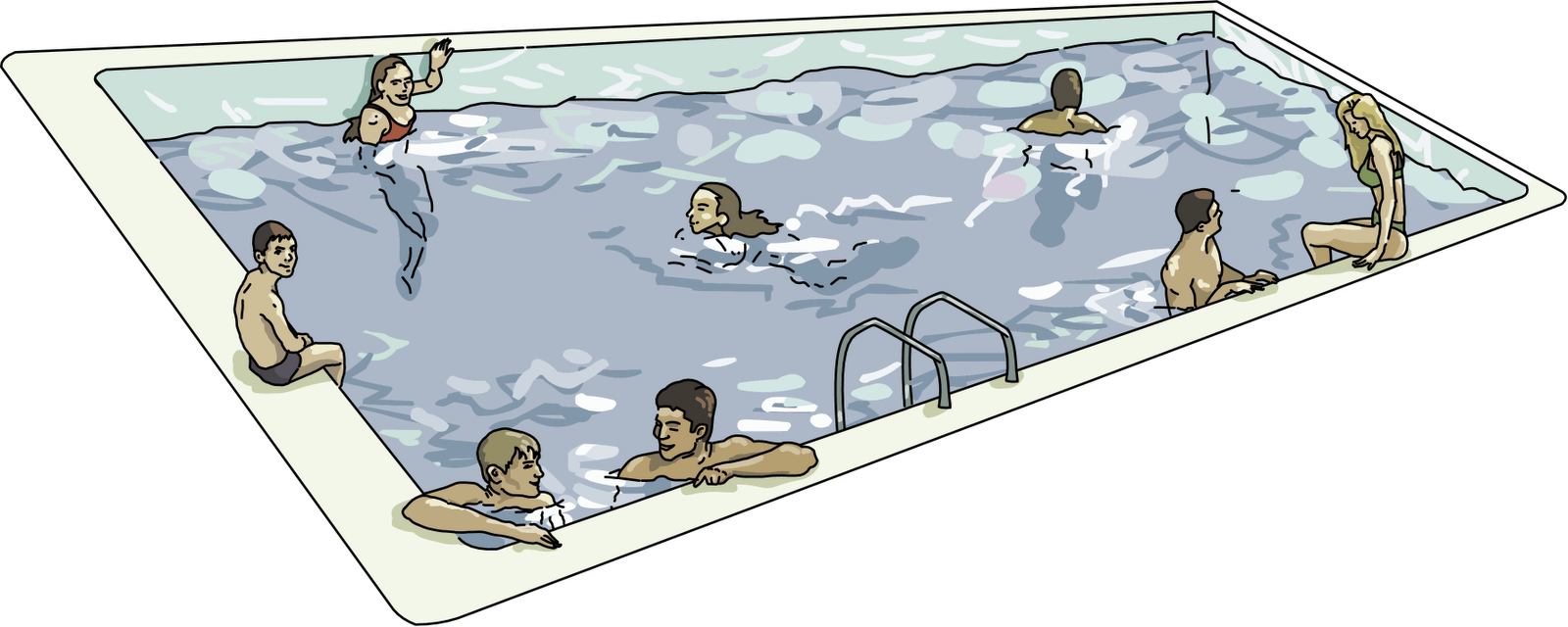 Pool clipart. Swimming group with items