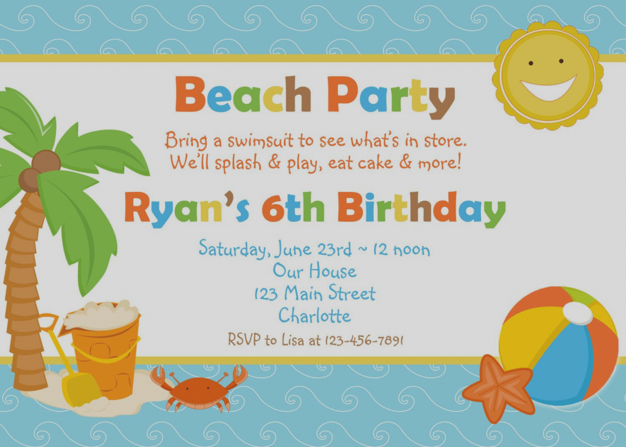 Pool clipart june theme. Gallery beach party invitations