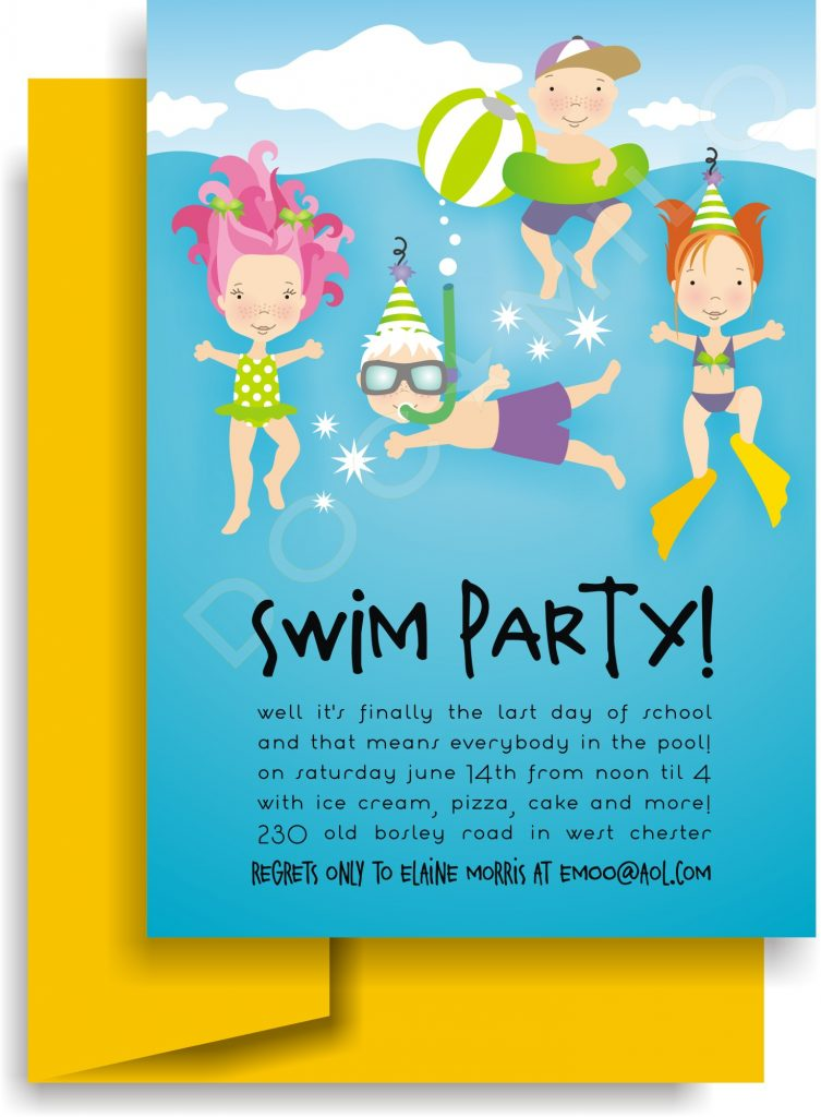 Pool clipart june theme. Birthday invitation exclusive party