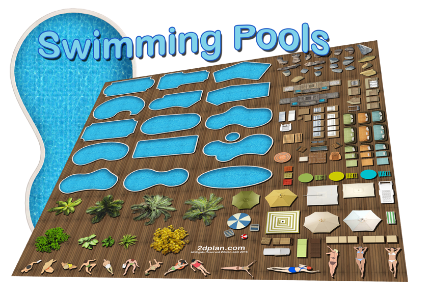 Landscaping drawing simple. Swimming pool design software