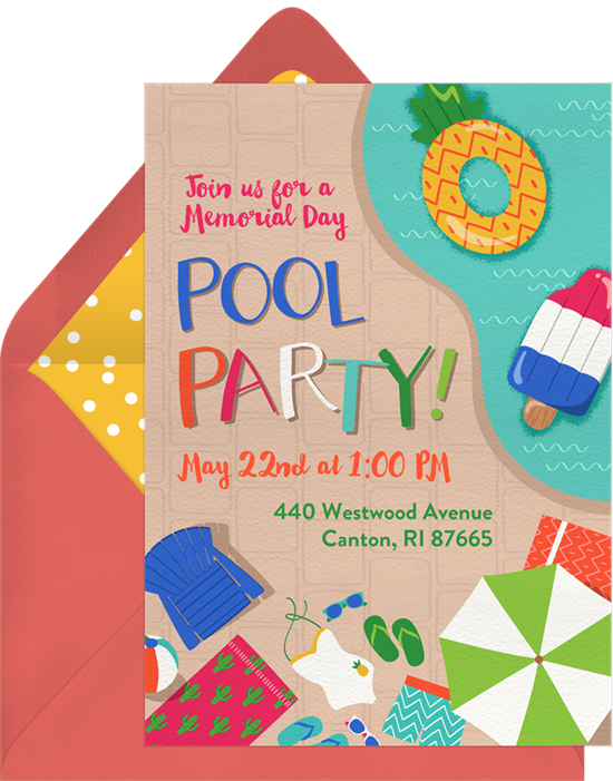 Pool party invitation png. Invitations greenvelope com in
