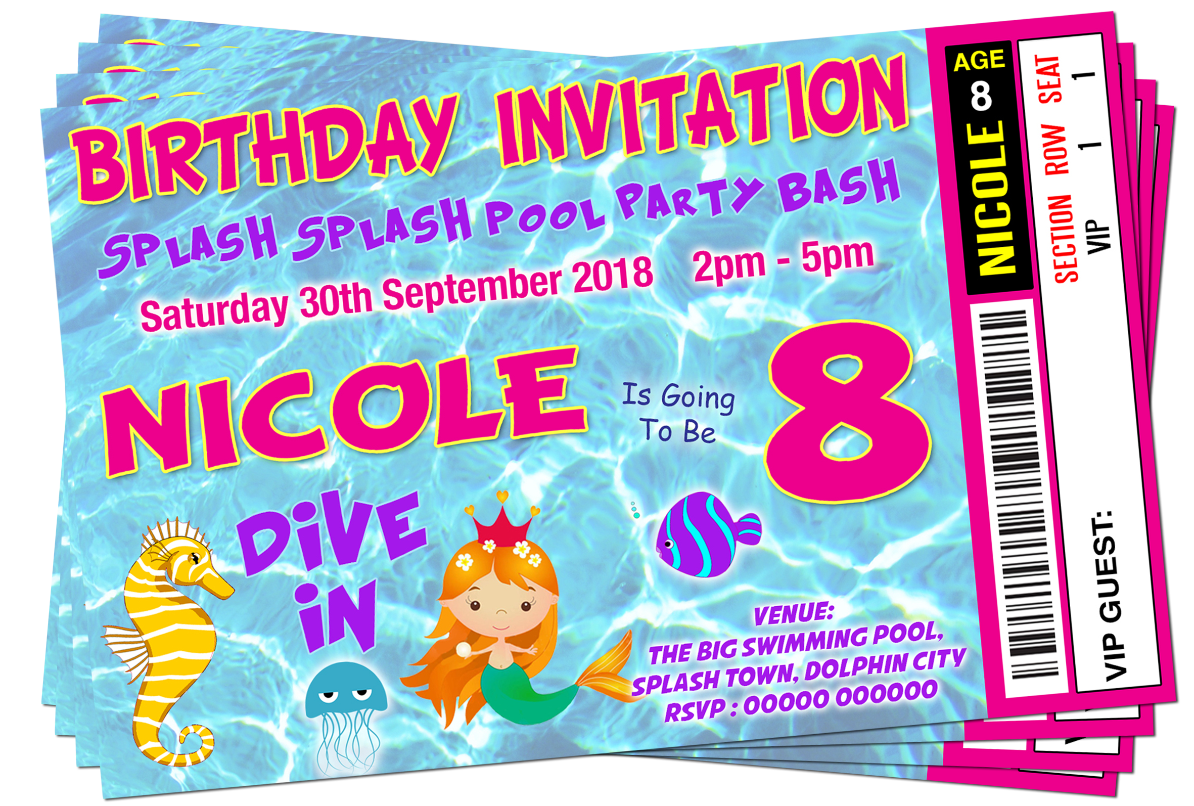 Pool party invitation png. Swim mermaid ticket style