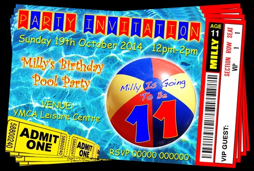 Pool party invitation png. Swim beach ball ticket