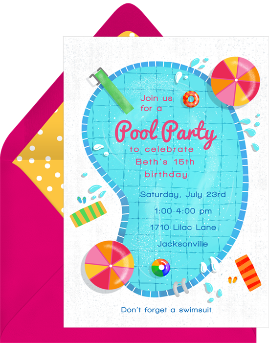 Pool party invitation png. Invitations in blue greenvelope