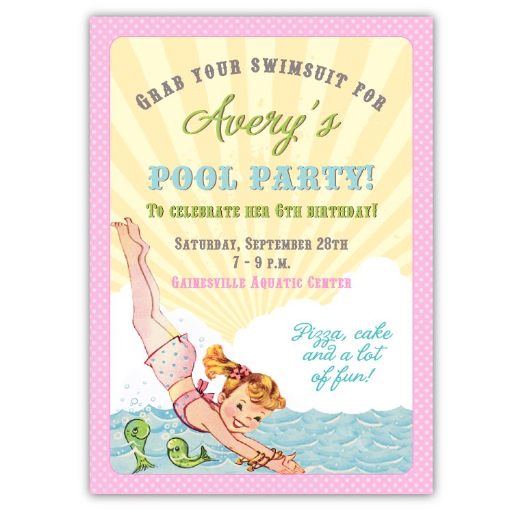Pool party invitation png. Retro invitations aqua ian