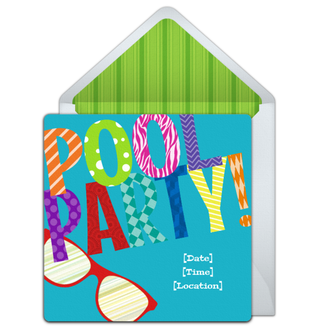 Pool party invitation png. Free colorful invitations birthday