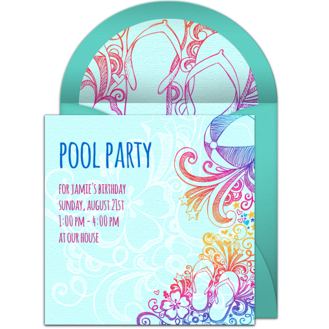 Pool party invitation png. Free sketch invitations
