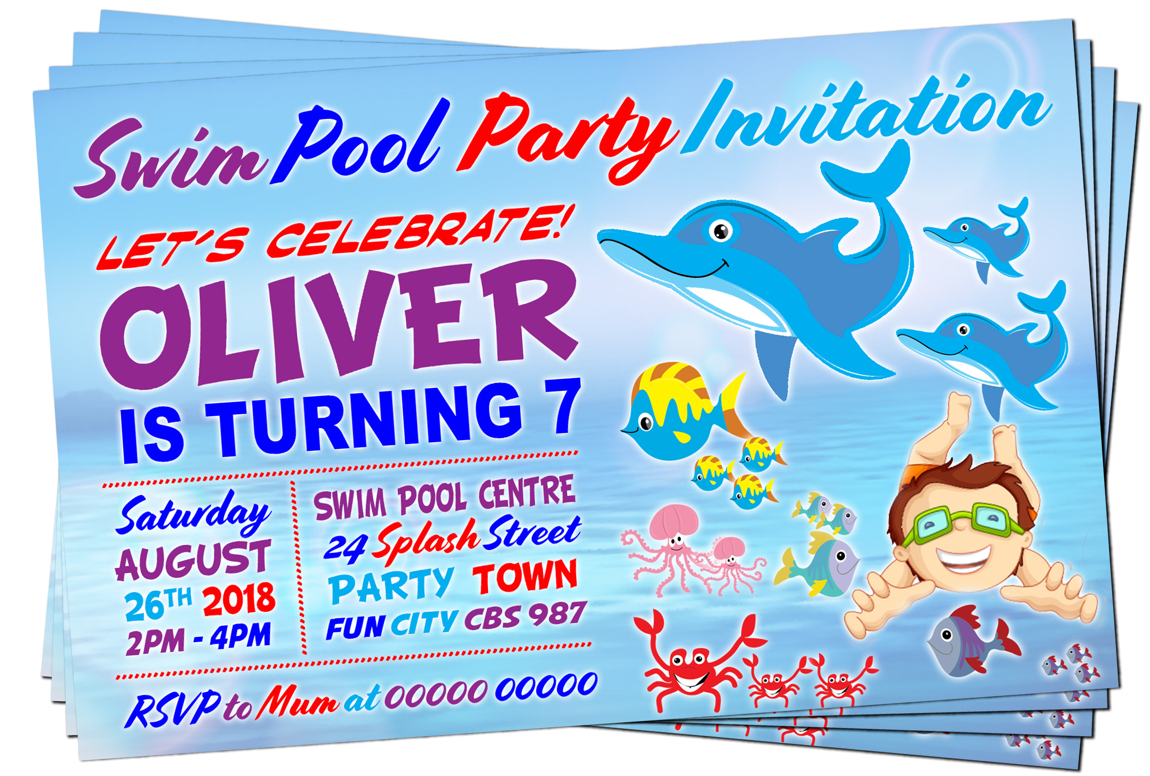 Pool party invitation png. Swim theme dolphins purple