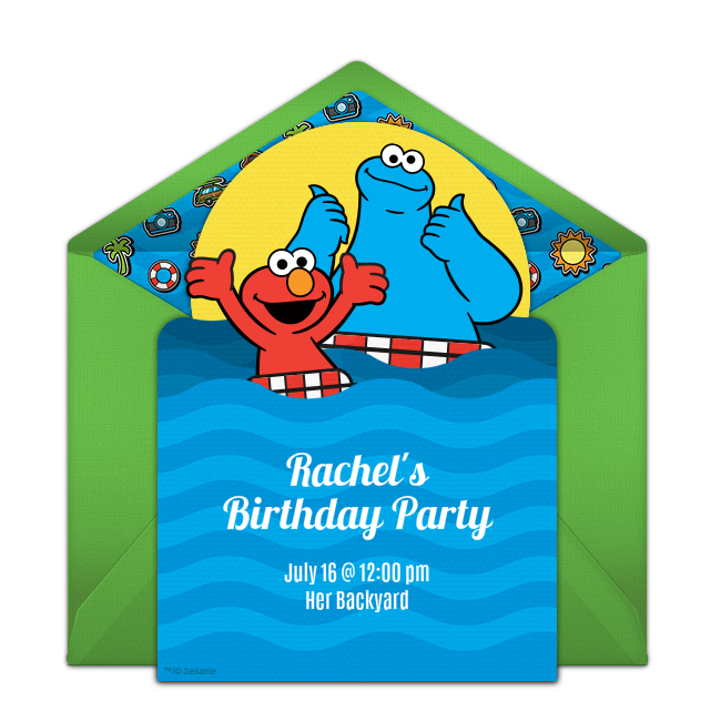 Pool party invitation png. Free elmo cookie monster