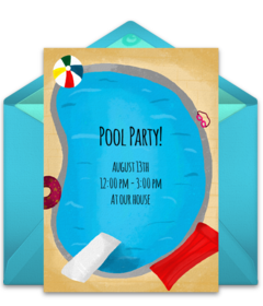 Pool party invitation png. Free summer online invitations