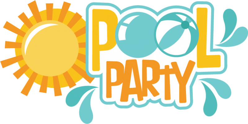 Pool party invitation png. Svg scrapbook title cut