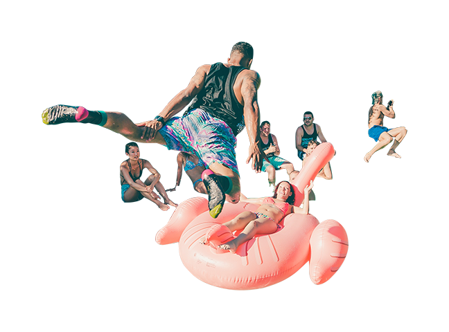 Pool people png. Guy jumping in with