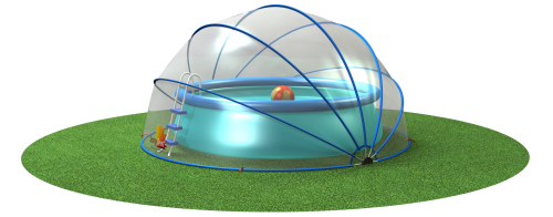 Tent transparent clear dome. The sunnytent as swimming