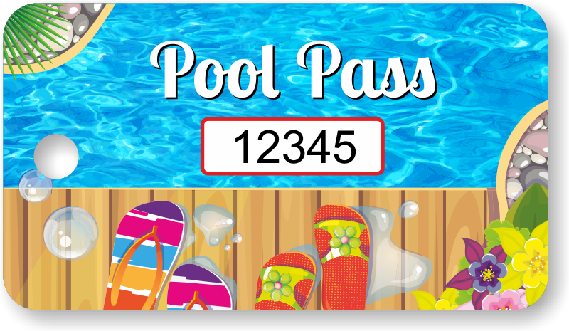Pool transparent colorful. Rectangular pass tag with