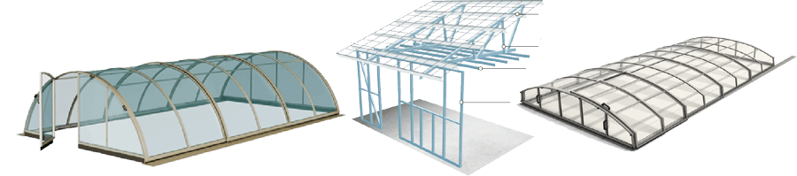 Pool transparent glass roof. Enclosure the definitive buying