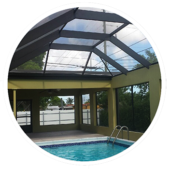 Pool transparent glass roof. West palm beach screen