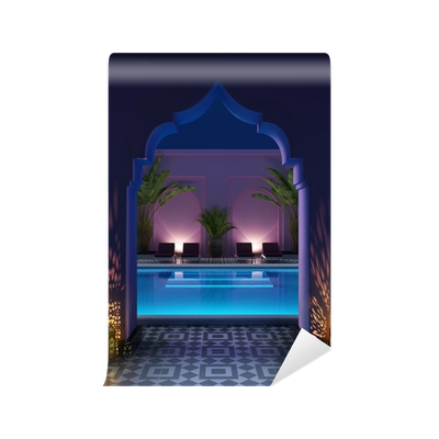 Pool transparent glass wall. Moroccan riad courtyard with