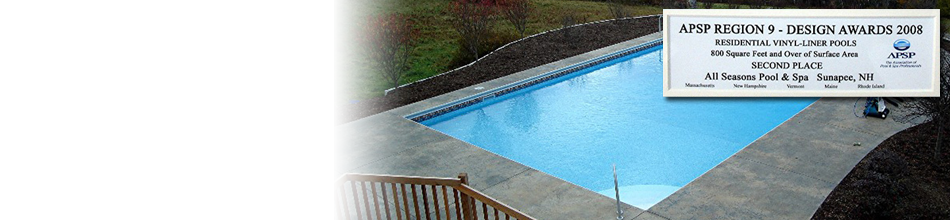 Pool transparent glass wall. Company information all seasons