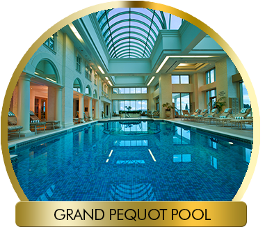 Pool transparent rooftop. Norwich spa at foxwoods