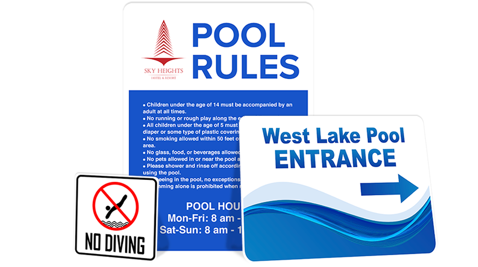 Pool transparent glass bottom. Signs com aluminum sign