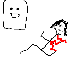 Poor drawing ghost. Laughing at the man